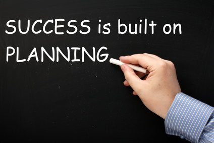 Writing Success Is Built On Planning on a blackboard
